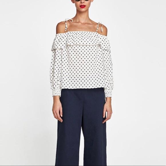 Zara Tops - Zara Polka Dot Linen Top. Size L